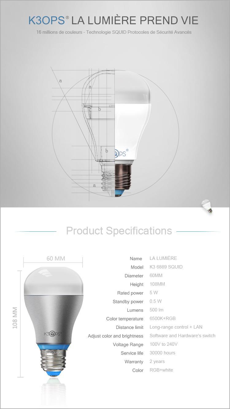Tech Specs de l'ampoule K3OPS